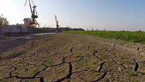 Danubio durante la antena extrema de la sequía almacen de video