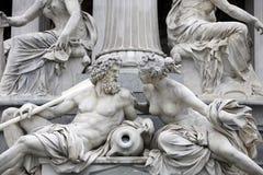 Danubio y mesón, detalle de la fuente del Pallas-Athene en Viena fotos de archivo libres de regalías