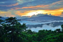 Danum Valley Conservation Area. Fogs and mist over dipterocarp rain forest in Danum Valley Conservation Area in Lahad Datu, Sabah Borneo, Malaysia royalty free stock photo