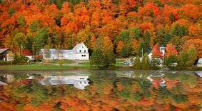Danville Vermont church from Joes pond royalty free stock images