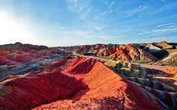 Danxia för sju färg, Gansu Arkivfoto