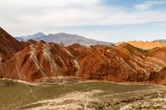 Danxia Feng, or Colored Rainbow Mountains, in Zhangye, Gansu, China. Here the view from the Colorful Embroidered observation deck royalty free stock photos