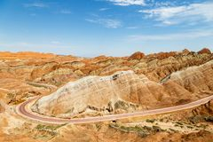 Danxia Feng, or Colored Rainbow Mountains, in Zhangye, Gansu, China. Here the view from the Sea of Clouds observation deck stock image