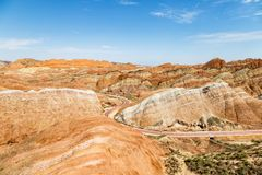Danxia Feng, or Colored Rainbow Mountains, in Zhangye, Gansu, China. Here the view from the Sea of Clouds observation deck royalty free stock image