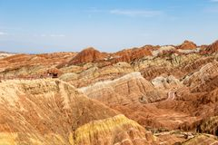 Danxia Feng, or Colored Rainbow Mountains, in Zhangye, Gansu, China. Here the view from the Sea of Clouds observation deck royalty free stock images