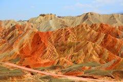 Danxia Geologisch Park, Zhangye, Gansu-Provincie, China royalty-vrije stock foto's