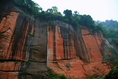 Danxia landform in Chishui. Chishui Danxia National Geopark is located in Chishui City, Guizhou province. It is located in the southern margin of Sichuan basin stock photo