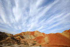 Danxia landform with clouds Royalty Free Stock Photos
