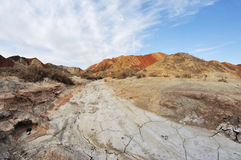 Danxia landform with clouds Royalty Free Stock Photo