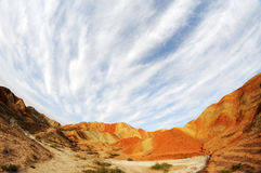 Danxia landform with clouds Stock Images