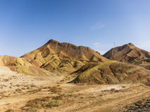Danxia landform with colorful stripes Royalty Free Stock Photo