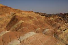Danxia landform i Zhangye, Kina Arkivbilder
