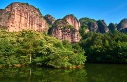 Danxia Landform of Longhu Mountain. Longhu Mountain, a typical Danxia landform, is located in Yingtan City, Jiangxi Province. also a famous Taoism mountain stock photo