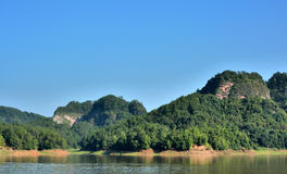 Danxia landform mountain with lake in Taining, Fujian, China Stock Photos