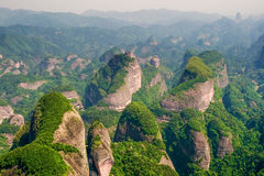 Danxia landform,peaks in Bajiaozhai. Bajiaozhai is also known as Yuntai Mountain. It is 818 meters high.Bajiaozhai National Forest Park is located to the royalty free stock photography