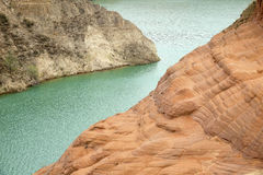Danxia landform. The scenery of Danxia landform in Longzhou, Jinbian, Shaanxi, China Stock Image