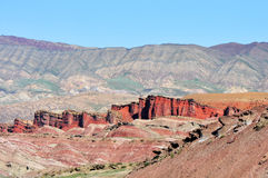 Danxia Landform. Typical Danxia Landform. Colorful mountains under the blue sky. Taken in Xinjiang, China Royalty Free Stock Photography