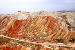 Danxia landform in zhang ye Royalty Free Stock Image