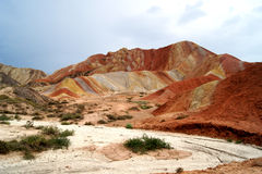Danxia landform in zhang ye Stock Photos