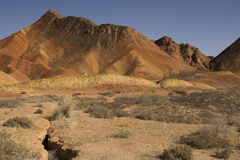 Danxia landform in Zhangye, China Royalty Free Stock Photos