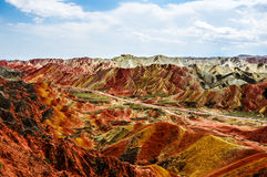 Danxia landform of Zhangye in gansu,china. Zhangye Danxia landform in a radius of 50 square kilometers mountain hills, there are strange shape, colorful Royalty Free Stock Photos