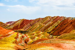 Danxia landform of Zhangye in gansu,china. Zhangye Danxia landform in a radius of 50 square kilometers mountain hills, there are strange shape, colorful Stock Photo