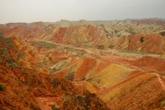 Danxia landform in Zhangye, Gansu China Stock Images