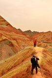 Danxia landform. Zhangye Danxia landform located in Linze County, an area more than one hundred square hilly areas, there are strange shapes, colors spot a false Royalty Free Stock Photos
