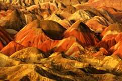 Danxia landform. Zhangye Danxia landform located in Linze County, an area more than one hundred square hilly areas, there are strange shapes, colors spot a false Stock Images
