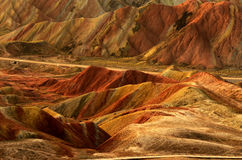Danxia landform. Zhangye Danxia landform located in Linze County, an area more than one hundred square hilly areas, there are strange shapes, colors spot a false Royalty Free Stock Images