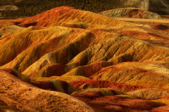 Danxia landform. Zhangye Danxia landform located in Linze County, an area more than one hundred square hilly areas, there are strange shapes, colors spot a false Stock Photography