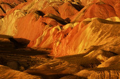 Danxia landform. Zhangye Danxia landform located in Linze County, an area more than one hundred square hilly areas, there are strange shapes, colors spot a false Stock Image