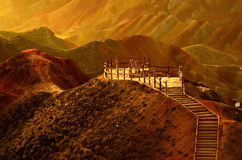 Danxia landform. Zhangye Danxia landform located in Linze County, an area more than one hundred square hilly areas, there are strange shapes, colors spot a false Royalty Free Stock Photo
