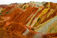 Danxia landform. Zhangye Danxia landform is a typical mountain seems to be magnified colorful pork Royalty Free Stock Photo