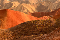 Danxia landform. Zhangye Danxia landform is a typical mountain seems to be magnified colorful pork Royalty Free Stock Photography