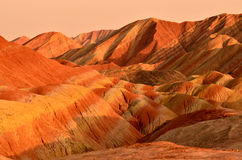 Danxia landform. Zhangye Danxia landform is a typical mountain seems to be magnified colorful pork Royalty Free Stock Images