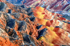 Danxia landform. Zhangye Danxia landform is a typical mountain seems to be magnified colorful pork Royalty Free Stock Image
