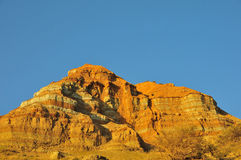 Danxia Mountain. Orange mountain, layer by layer, easy weathering, oddly shaped Royalty Free Stock Photo