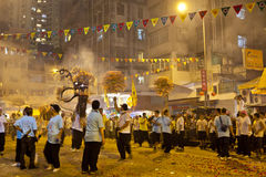 Danza 2012 del dragón del fuego de la caída del Tai Imagenes de archivo