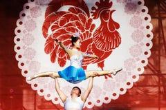 Danza acrobática china Foto de archivo