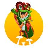 Danza china del león del Año Nuevo ilustración del vector