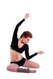 Danza contemporánea, mujer en el piso Fotografía de archivo libre de regalías