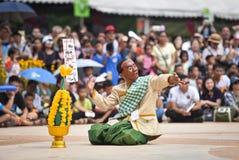 Danza de la demostración de Laos de la máscara Fotografía de archivo