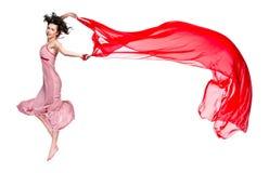 Danza de la muchacha con la bufanda roja Fotos de archivo libres de regalías