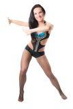 Danza de la mujer de la sensualidad en traje atractivo Imagenes de archivo