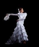 Danza de la mujer joven en el traje blanco del flamenco fotos de archivo