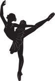 Danza de la silueta del esquema de la impresión de la bailarina stock de ilustración