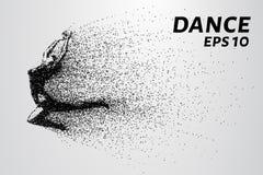 Danza de las partículas Baile de la muchacha en salto Un bailarín realiza elementos acrobáticos Ilustración del vector Fotos de archivo