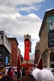 Danza de león en Chinatown, Boston durante la celebración china del Año Nuevo Foto de archivo libre de regalías