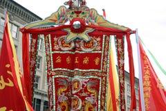 Danza de león en Chinatown, Boston durante la celebración china del Año Nuevo Foto de archivo